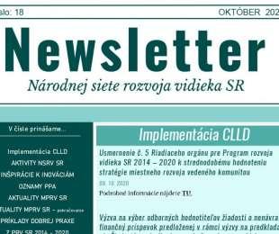 NEWSLETTER Národnej siete rozvoja vidieka SR | 18/2020