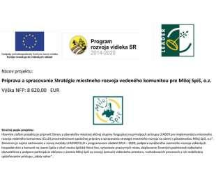 Príprava a spracovanie Stratégie miestneho rozvoja vedeného komunitou pre Miloj Spiš, o.z. | 191KE040015