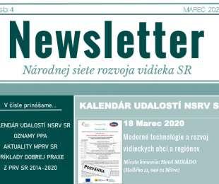 NEWSLETTER Národnej siete rozvoja vidieka SR   04/2020