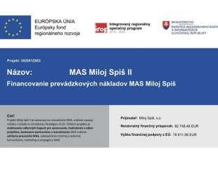 Financovanie prevádzkových nákladov MAS Miloj Spiš, o.z. II