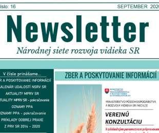 NEWSLETTER Národnej siete rozvoja vidieka SR   16/2020