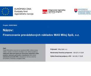 Financovanie prevádzkových nákladov MAS Miloj Spiš, o.z. | 302051N843