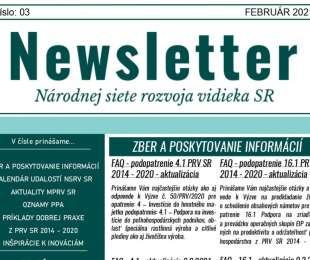 NEWSLETTER Národnej siete rozvoja vidieka SR | 03/2021